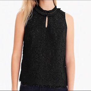 J crew black lace ruffle shell sleeveless top